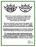 Eyes Vocabulary Bingo