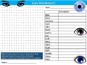 Eyes Wordsearch Puzzle Sheet Keywords Biology Anatomy Sight