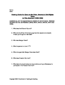 Eyes on the Prize Viewing Guide: Is This America?