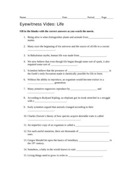 Eyewitness Video Life with Answer Key