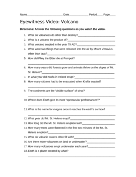 Eyewitness Video Volcano with Answer Key