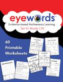 Eyewords 60 Printable Worksheets for Set #1, Words 1-50