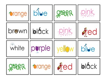 Sight Words Colors - Eyewords Cards and Activity Package Bundle