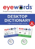 Sight Words Desktop Wordwall/ Personal Dictionary, Eyewords 1-100