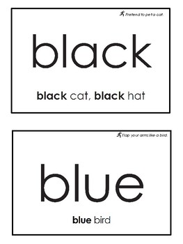 Sight Word Colors - Eyewords Multisensory Flashcards/Wordwall cards