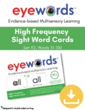 Sight Words Eyewords Multisensory Flashcards/Wordwall Cards 51-100