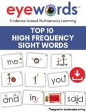 Top Ten Sight Words Eyewords Multisensory Flashcards/Wordw