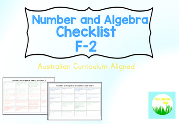 F-2 Number and Algebra Checklist
