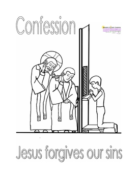 Boy going to Confession Coloring Page