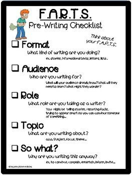 F.A.R.T.S. Writing or Pre-Writing Checklist and Writing Paper