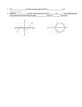 F.IF.A.1 Interactive NOTES, relations / range / domain / functions intro FILL IN
