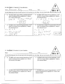 F = M A Quiz  Newton's 2nd Law of Motion
