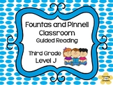 F & P Classroom Third Grade Guided Reading Set Level J Comprehension Sheets
