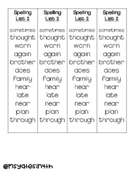 F&P HIGH-FREQUENCY WORDS SPELLING LISTS (26 WEEKS)
