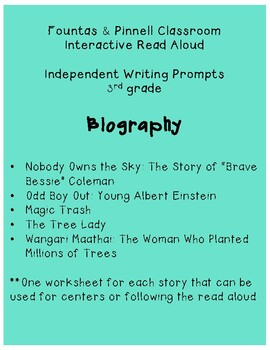 F&P IRA Write About Reading: Biography (3rd)