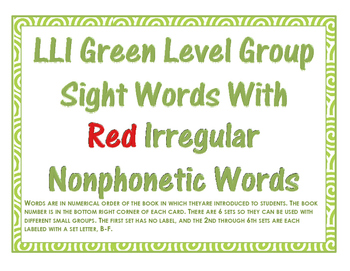 F&P LLI Green Level Sight Word Cards Numbered: Student, Group, Red