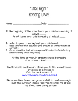 F&P Reading Level Note Home