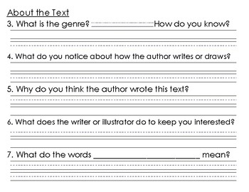 F+P Worksheet of Comprehension Questions