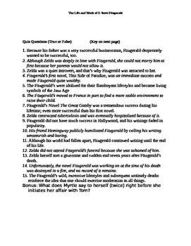 F. Scott Fitzgerald Lecture Notes