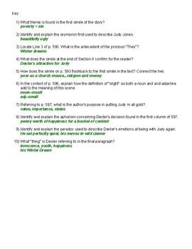 F. Scott Fitzgerald Winter Dreams Quiz and Key