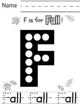 F is for Fall Preschool Letter Recognition/Handwriting Practice Sheet