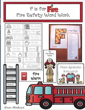"Fire Safety Activities: ""F is for Fire!"" Fire Safety Word Work & Craft"