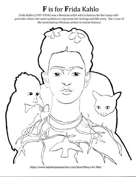 F is for Frida Kahlo Coloring Sheet Art History