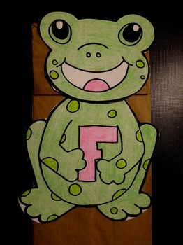F is for frog paper bag puppet