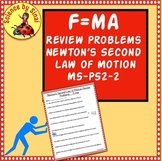 F=ma Review Problems Newton's Second Law of Motion Worksheet Practice MS-PS2-2