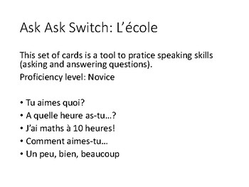 F1 - Ask Ask Switch set of cards - L'école (school)