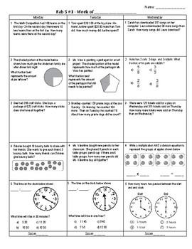 Third Grade Math Test Prep FAB 5 Week 1