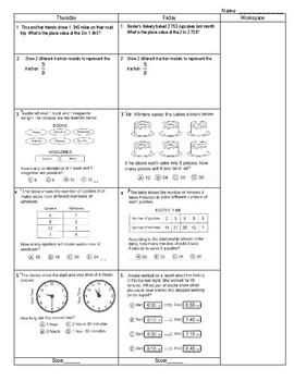 Third Grade Math Test Prep FAB 5 Week 3