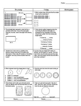 Third Grade Math Test Prep FAB 5 Week 6