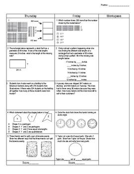 Third Grade Math Spiral Review Week 6