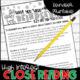 Christmas Reindeer Informational Text Color By Code Close Reading Holiday Fun