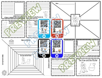 FABLE Crow and the Pitcher Mini Book-QR Codes-Common Core-Kaplan Icons-Daily 5