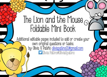 FABLE The Lion and the Mouse Foldable Mini Book Common Cor