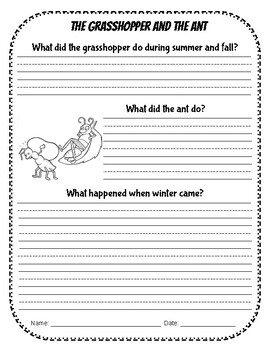FABLES WRITING WITH COMPREHENSION QUESTIONS