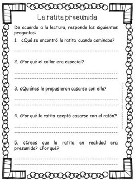 FABULAS Y CUENTOS + PREGUNTAS COMPRENSION DE LECTURA