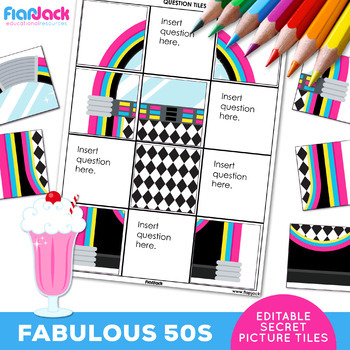 FABULOUS FIFTIES 50s EDITABLE Worksheets | Secret Picture Tiles