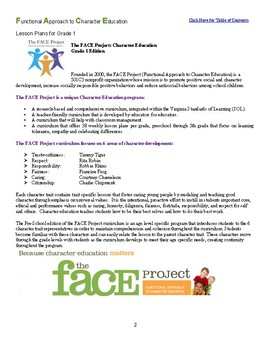 FACE Project First Grade Character Education Curriculum