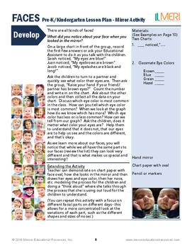 FACES Mirror Activity- Lesson Plan for PreK/K