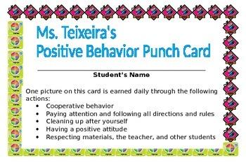 "Positive Behavior Reinforcement ""Punch Card"""