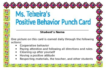 "Positive Behavior Reinforcement ""Punch Card"""