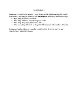 FACS Semester Reflection