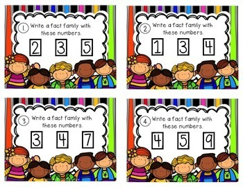 FACT FAMILY Task Cards: Addition\Subtraction