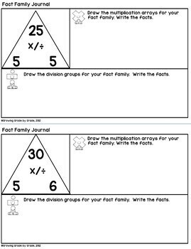Fact Families Multiplication and Division Journal