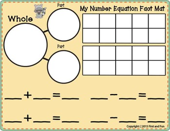 FACT FAMILY NUMBER BONDS FLASH CARDS MAT AND COUNTERS SET COMMON CORE MAFS