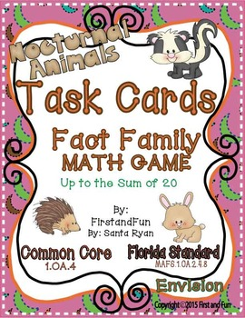 NUMBER BONDS FACT FAMILY TASK CARD MATH CENTER GAME COMMON