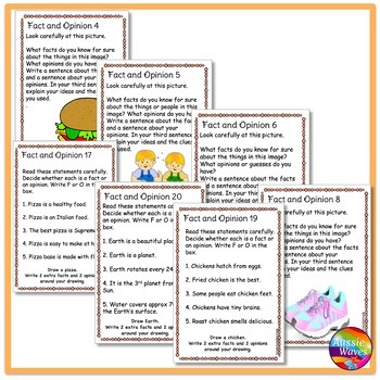 READING Task Cards understanding FACT and OPINION COMPREHENSION SKILLS